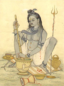 Shiva preparant le Bhang